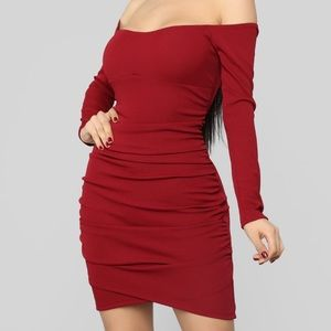 Ruched and ready to rock mini dress - burgundy